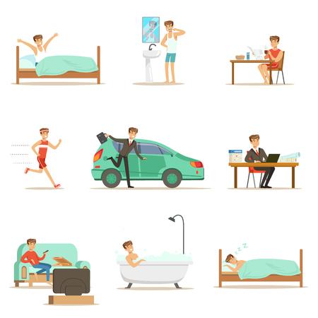 Moderne Mann Tägliche Routine Von Morgen Zu Abend Serie Von Cartoon Illustrationen Mit Glücklichen Charakter Standard-Bild - 73347440