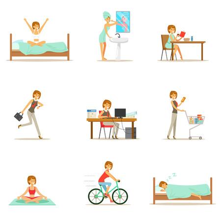 Femme moderne routine quotidienne du matin au soir Série d'illustrations dessin animé avec caractère heureux Banque d'images - 73401596
