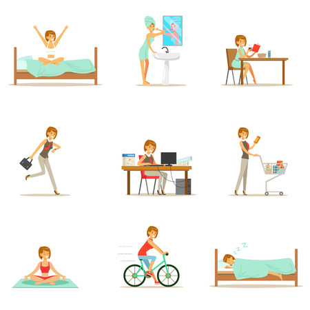 Modern Woman Daily Routine From Morning To Evening Series Of Cartoon Illustrations With Happy Character