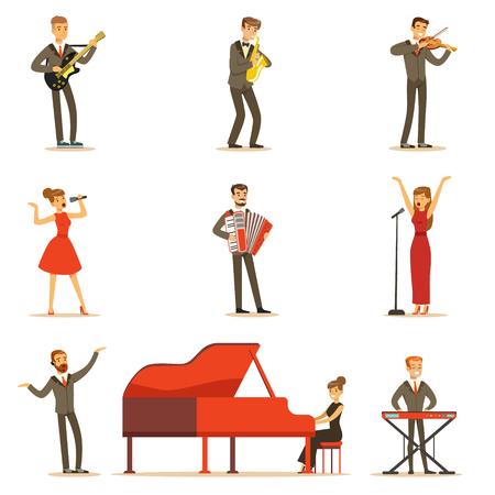 Volwassen muzikanten en zangers uitvoeren van een muzikaal nummer op het podium In Music Hall Set van stripfiguren