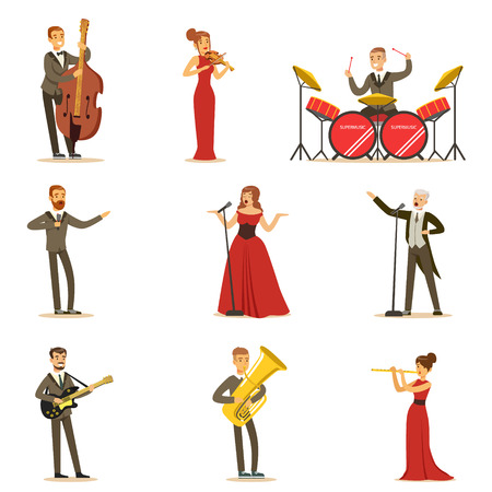 Volwassen muzikanten en zangers uitvoeren van een muzikaal nummer op het podium In Music Hall Verzameling van stripfiguren Vector Illustratie