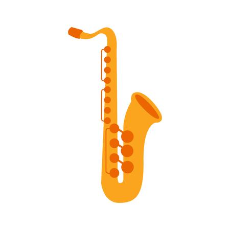 Sassofono, parte degli strumenti musicali messi delle illustrazioni isolate vettore realistico del fumetto Archivio Fotografico - 73753166