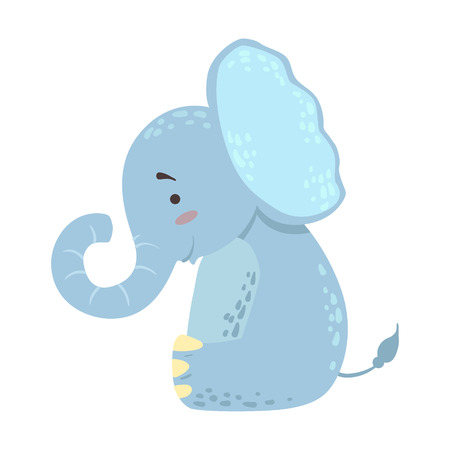 Elephant Cute Toy Animal With Detailed Elements Part Of Fauna Collection Of Childish Vector Stickers