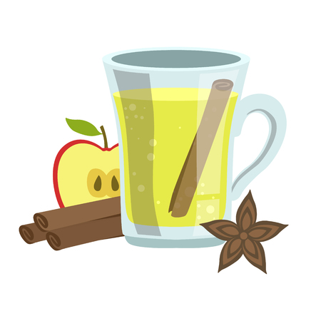 Apple, Cinnamon And Anise Smoothie, Non-Alcoholic Fresh Cocktail In A Glass And The Ingredients For It Vector Illustration