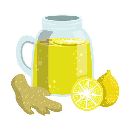 Lemon And Ginger Smoothie, Non-Alcoholic Fresh Cocktail In A Glass And The Ingredients For It Vector Illustration Illustration