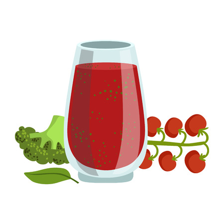 Tomato And Broccoli Smoothie, Non-Alcoholic Fresh Cocktail In A Glass And The Ingredients For It Vector Illustration