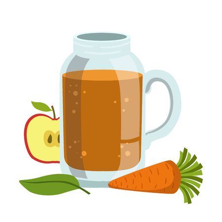 Apple And Carrot Smoothie, Non-Alcoholic Fresh Cocktail In A Glass And The Ingredients For It Vector Illustration Illustration