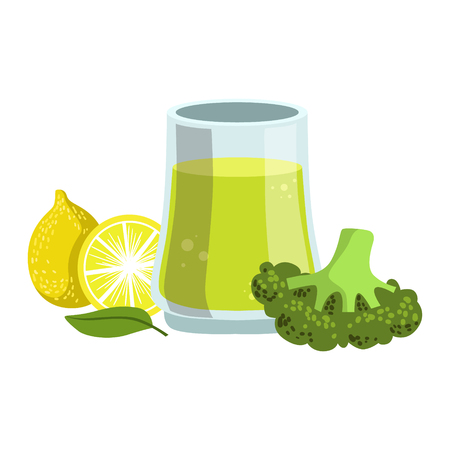 Broccoli And Lemon Smoothie, Non-Alcoholic Fresh Cocktail In A Glass And The Ingredients For It Vector Illustration