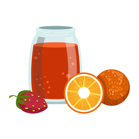 Orange And Strawberry Smoothie, Non-Alcoholic Fresh Cocktail In A Glass And The Ingredients For It Vector Illustration