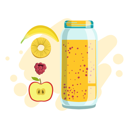 Banana, Pineapple And Raspberry Smoothie, Non-Alcoholic Fresh Cocktail In A Glass And The Ingredients For It Vector Illustration