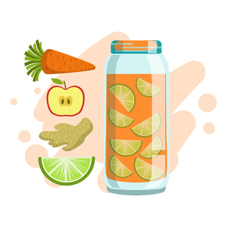 Carrot, Lime, Ginger And Apple Smoothie, Non-Alcoholic Fresh Cocktail In A Glass And The Ingredients For It Vector Illustration