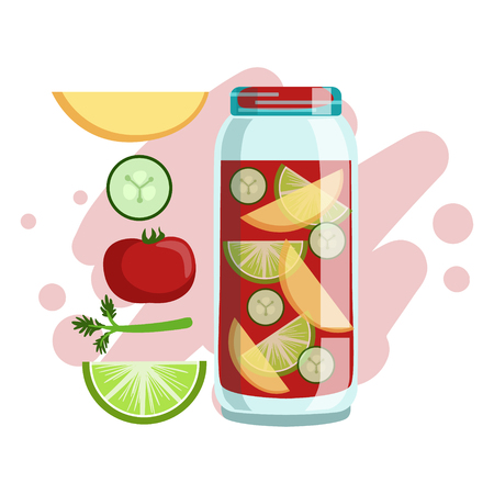 Apple, Cucumber, Tomato And Lime Smoothie, Non-Alcoholic Fresh Cocktail In A Glass And The Ingredients For It Vector Illustration Illustration