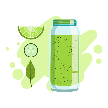 Lime And Cucumber Smoothie, Non-Alcoholic Fresh Cocktail In A Glass And The Ingredients For It Vector Illustration