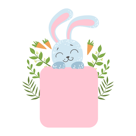 Cute Rabblit With Carrots And Plants Vector Sticker, Template St. Valentines Day Message Element Missing Text With Cute Animal Character Illustration