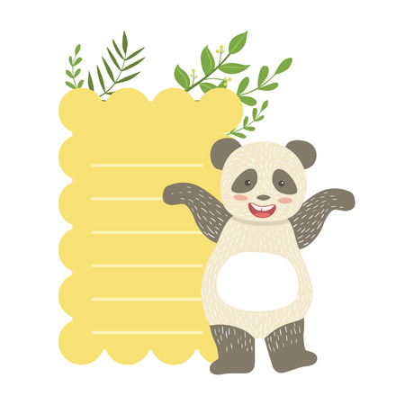 Panda With Lined Paper And Plants Vector Sticker, Template St. Valentines Day Message Element Missing Text With Cute Animal Character