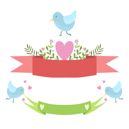 Birds, Ribbons And Hearts Vector Sticker, Template St. Valentines Day Message Element Missing Text With Cute Animal Character