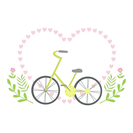 Heart Shaped Frame Formed With Small Hearts And Plants , Template St. Valentines Day Message Element Missing Text With Cute Summer Bicycle