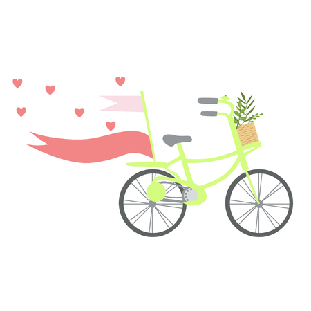 Bicycle With Hearts , Ribbons And Plants In Basket, Template St. Valentines Day Message Element Missing Text Illustration