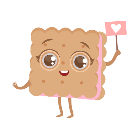 Biscuit Sandwich Cute Anime Humanized Cartoon Food Character Emoji Vector Illustration