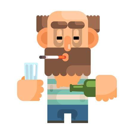 Alcoholic With Glass And Bottle, Revolting Homeless Person, Dreg Of Society, Pixelated Simplified Male Vagabond Character Illustration