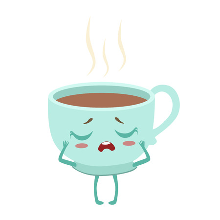 Cup Of Hot Coffee Cute Anime Humanized Cartoon Food Character Emoji Vector Illustration Illustration