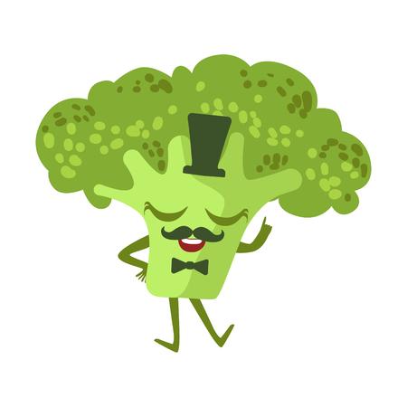 Gentleman Broccoli Cute Anime Humanized Cartoon Food Character Emoji Vector Illustration