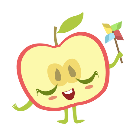 Half Of Apple With Windmill Toy Cute Anime Humanized Cartoon Food Character Emoji Vector Illustration