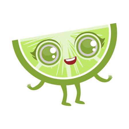 Slice Of Lime Cute Anime Humanized Cartoon Food Character Emoji Vector Illustration Illustration