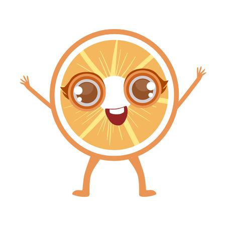 Orange Slice Cute Anime Humanized Cartoon Food Character Emoji Vector Illustration Illustration