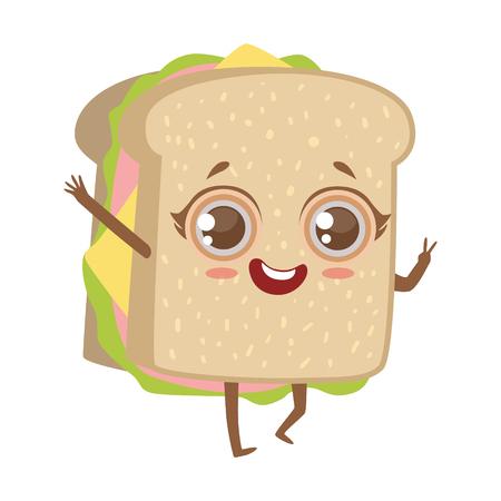Sandwich Cute Anime Humanized Cartoon Food Character Emoji Vector Illustration