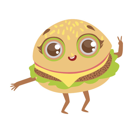 Burger Sandwich Cute Anime Humanized Cartoon Food Character Emoji Vector Illustration