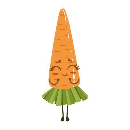Carrot Cute Anime Humanized Smiling Cartoon Vegetable Food Character Emoji Vector Illustration