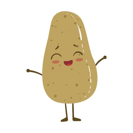 Potato Cute Anime Humanized Smiling Cartoon Vegetable Food Character Emoji Vector Illustration Illustration