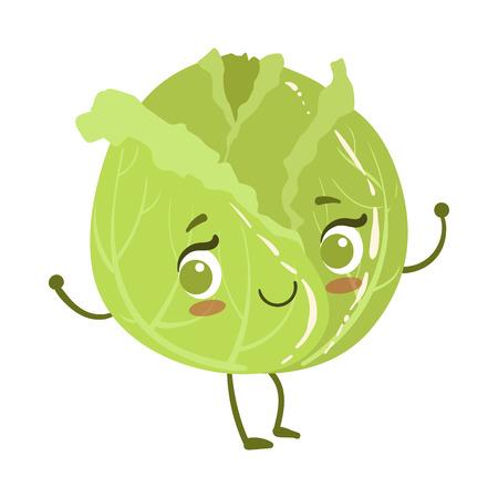 Cabbage Cute Anime Humanized Smiling Cartoon Vegetable Food Character Emoji Vector Illustration Illustration