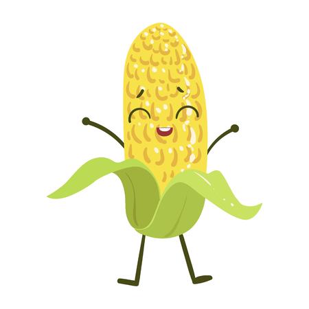 Corn Cute Anime Humanized Smiling Cartoon Vegetable Food Character Emoji Vector Illustration Illustration