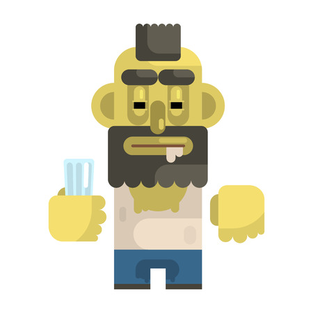 Alcoholic With Glass And Mohawk, Revolting Homeless Person, Dreg Of Society, Pixelated Simplified Male Vagabond Character
