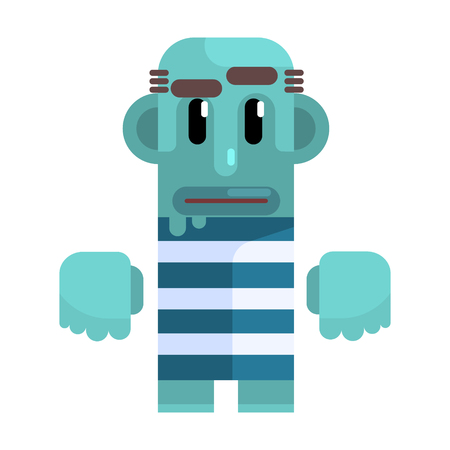 Bold Tramp With Blue Skin In Stripy Marine Top, Revolting Homeless Person, Dreg Of Society, Pixelated Simplified Male Vagabond Character