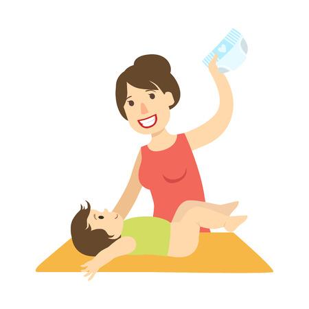 Moeder Veranderende Nappy aan een Baby op Veranderende Lijst, Illustratie van Gelukkige houdende van Familiesreeks