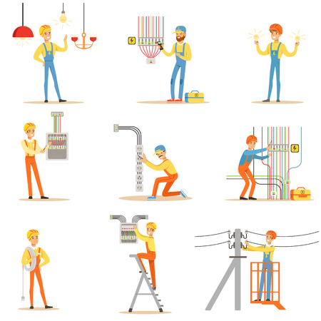 wireman: Electrician In Uniform And Hard Hat Working With Electric Cables And Wires, Fixing Electricity Problems Indoors And Outdoors Collection Of Illustrations Illustration