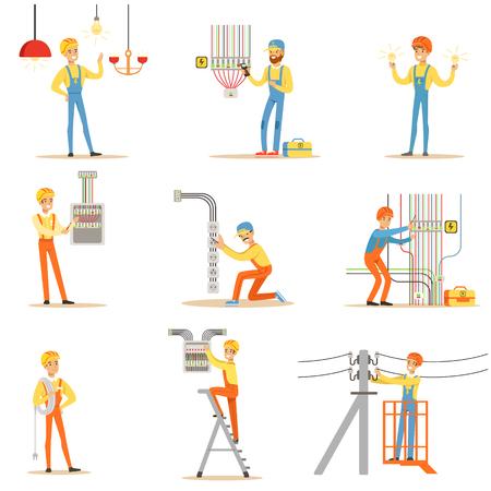 Elektricien in uniform en helm Werken met elektrische kabels en draden, vaststelling van elektriciteitsproblemen Binnen en buiten Collectie van illustraties Stock Illustratie