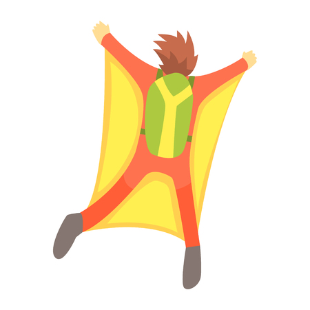 Guy Skydiving With Wingsuit And Parachute, Part Of Teenagers Practicing Extreme Sports For Recreation Set Of Cartoon Characters Illustration