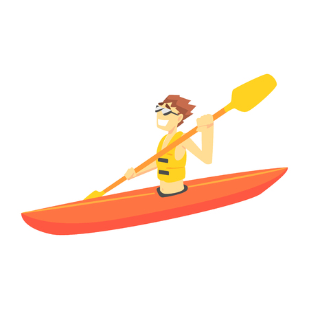 Guy Kayaking, Part Of Teenagers Practicing Extreme Sports For Recreation Set Of Cartoon Characters