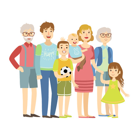 Volle Familie mit Eltern, Großeltern und zwei Kindern, Illustration von der glücklichen liebevollen Familien-Reihe