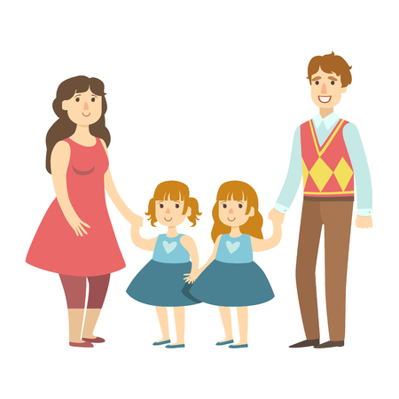 Parents And Two Twin Little Daughters, Illustration From Happy Loving Families Series