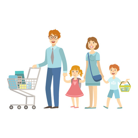 supermarket series: Family Of Four Members Shopping In Supermarket, Illustration From Happy Loving Families Series Illustration