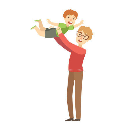 Dad Throwing Little Son In The Air, Illustration From Happy Loving Families Series Illustration