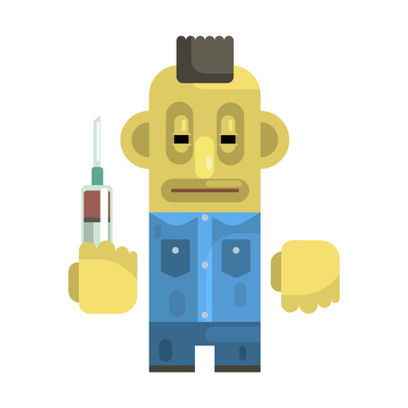 Junkie With Syringe And Mohawk, Revolting Homeless Person, Dreg Of Society, Pixelated Simplified Male Vagabond Character