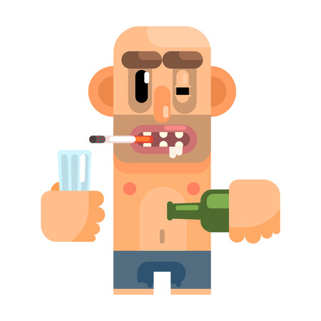 Unshaved Alcoholic With Rotten Teeth, Revolting Homeless Person, Dreg Of Society, Pixelated Simplified Male Vagabond Character