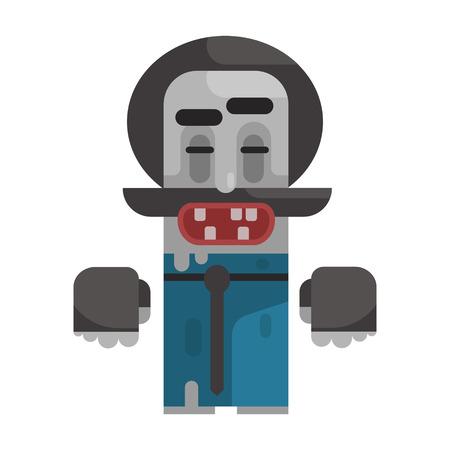 Dirty Tramp mit Schnurrbart und ein HAt, Revolte Obdachlose Person, Dreg der Gesellschaft, Pixelated Simplified Male Vagabond Charakter