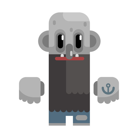 Bold Tramp With Long Beard And Grey Skin, Revolting Homeless Person, Dreg Of Society, Pixelated Simplified Male Vagabond Character